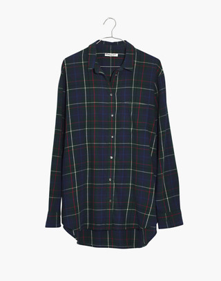Flannel Oversized Ex-Boyfriend Shirt in Dark Plaid in gallery green image 4