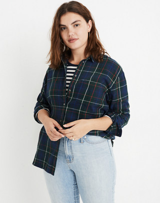 Flannel Oversized Ex-Boyfriend Shirt in Dark Plaid in gallery green image 1
