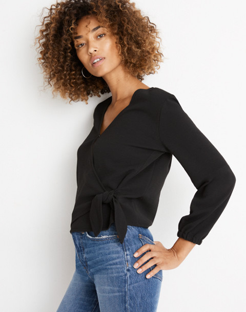 Texture & Thread Crepe Wrap Top in true black image 2