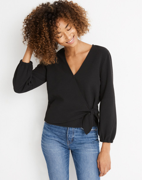 Texture & Thread Crepe Wrap Top in true black image 1
