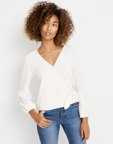 Texture & Thread Crepe Wrap Top in pearl ivory image 2