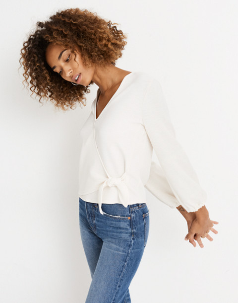 Texture & Thread Crepe Wrap Top in pearl ivory image 3