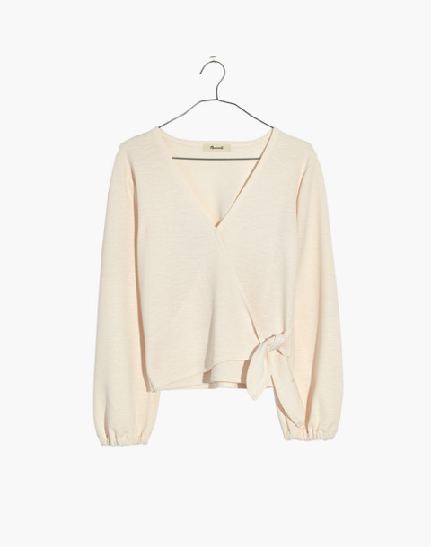 Texture & Thread Crepe Wrap Top in pearl ivory image 4