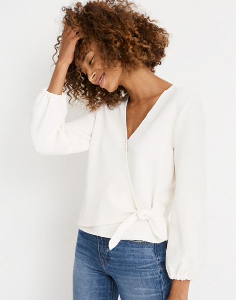 Texture & Thread Crepe Wrap Top in pearl ivory image 1
