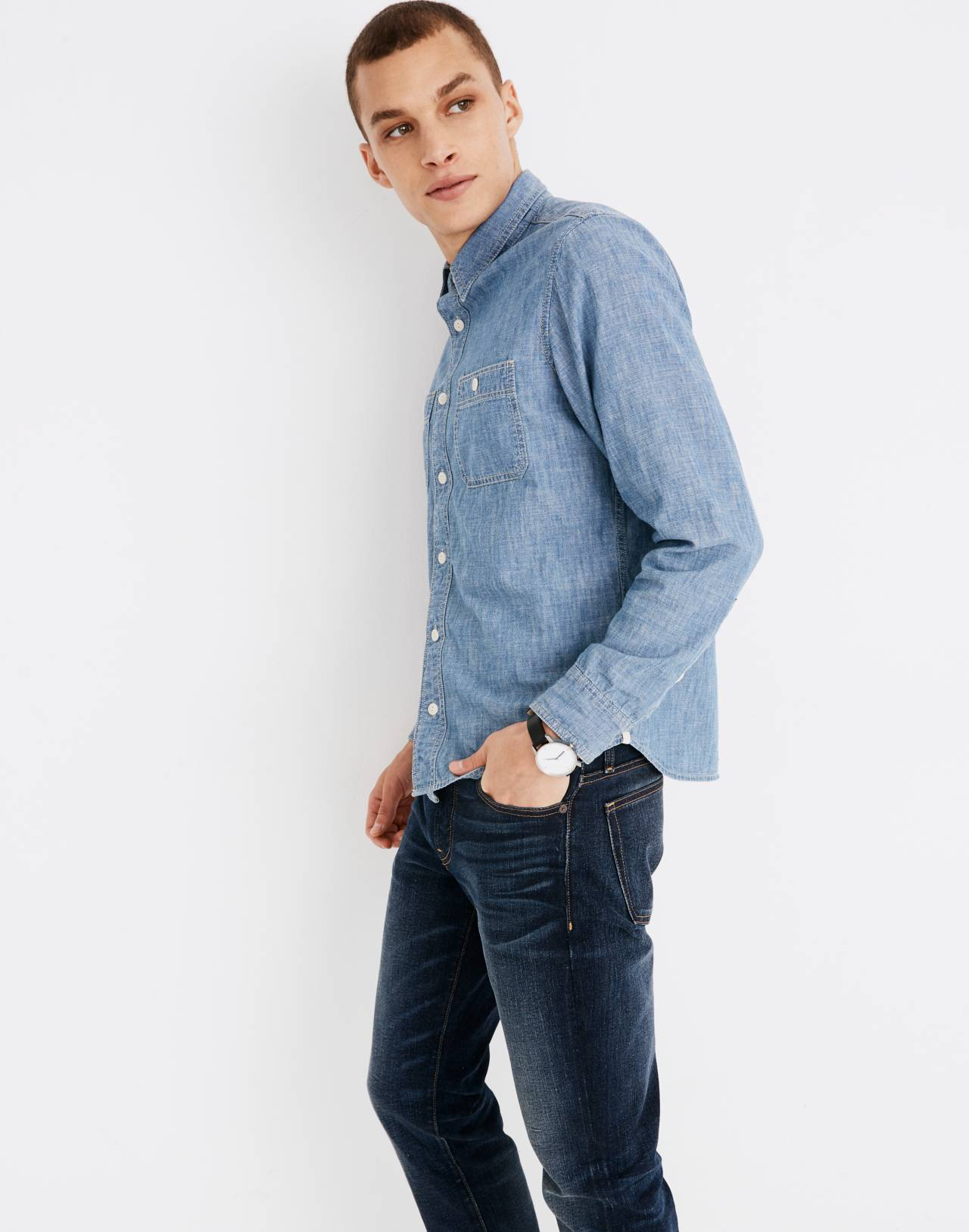 Chambray Button-Down Shirt in Lessing Wash in lessing wash image 2