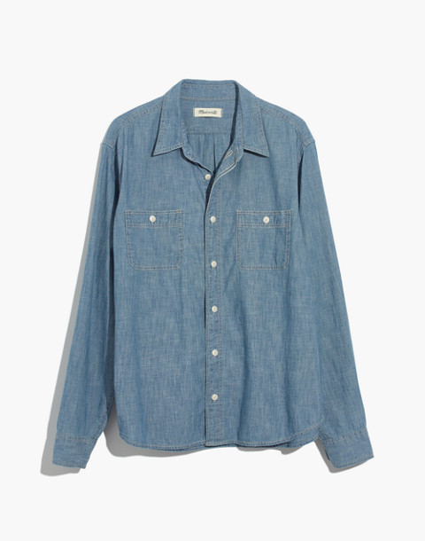 Chambray Button-Down Shirt in Lessing Wash in lessing wash image 4