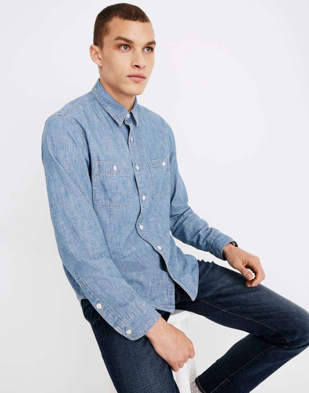Chambray Button-Down Shirt in Lessing Wash in lessing wash image 1