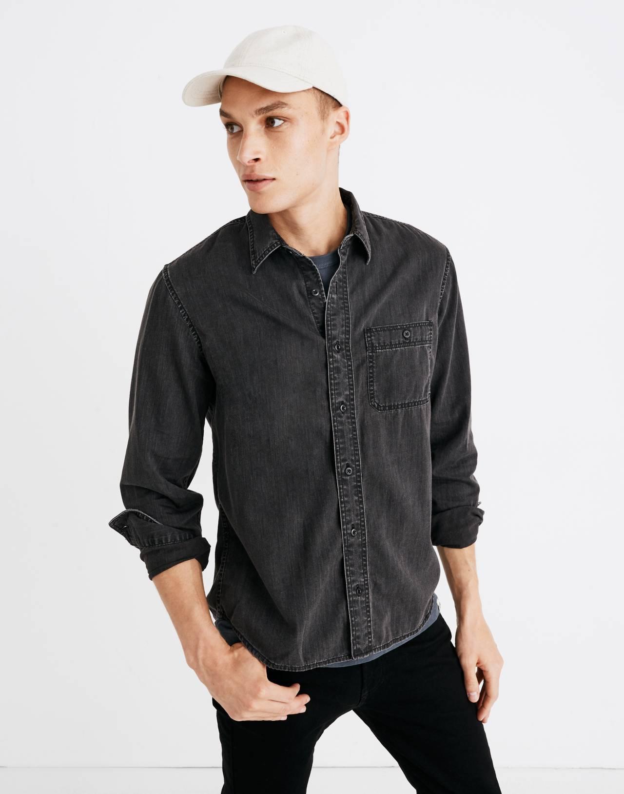 Denim Button-Down Shirt in Cutler Wash in cutler wash image 1
