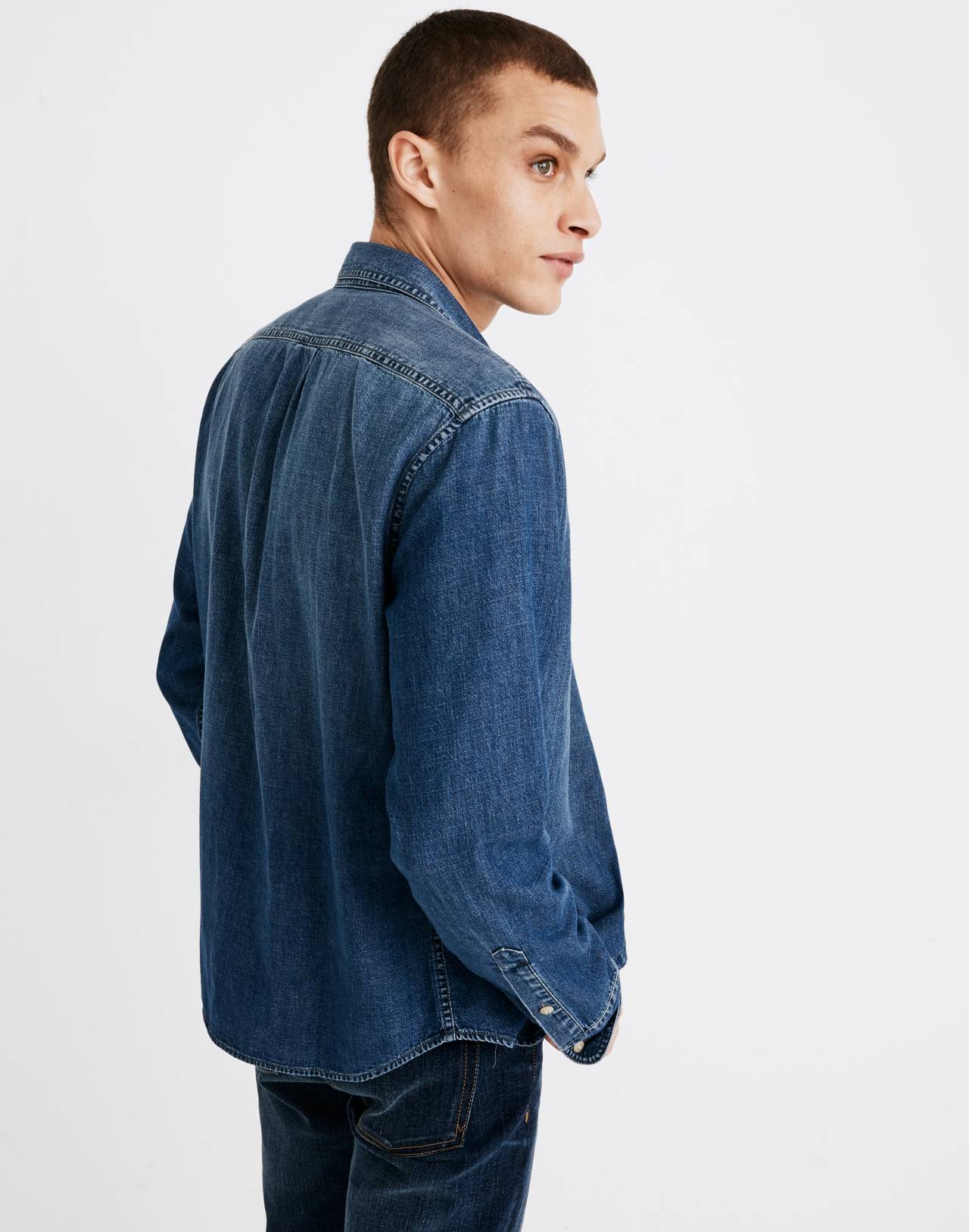 Denim Button-Down Shirt in Newhall Wash in newhall wash image 2