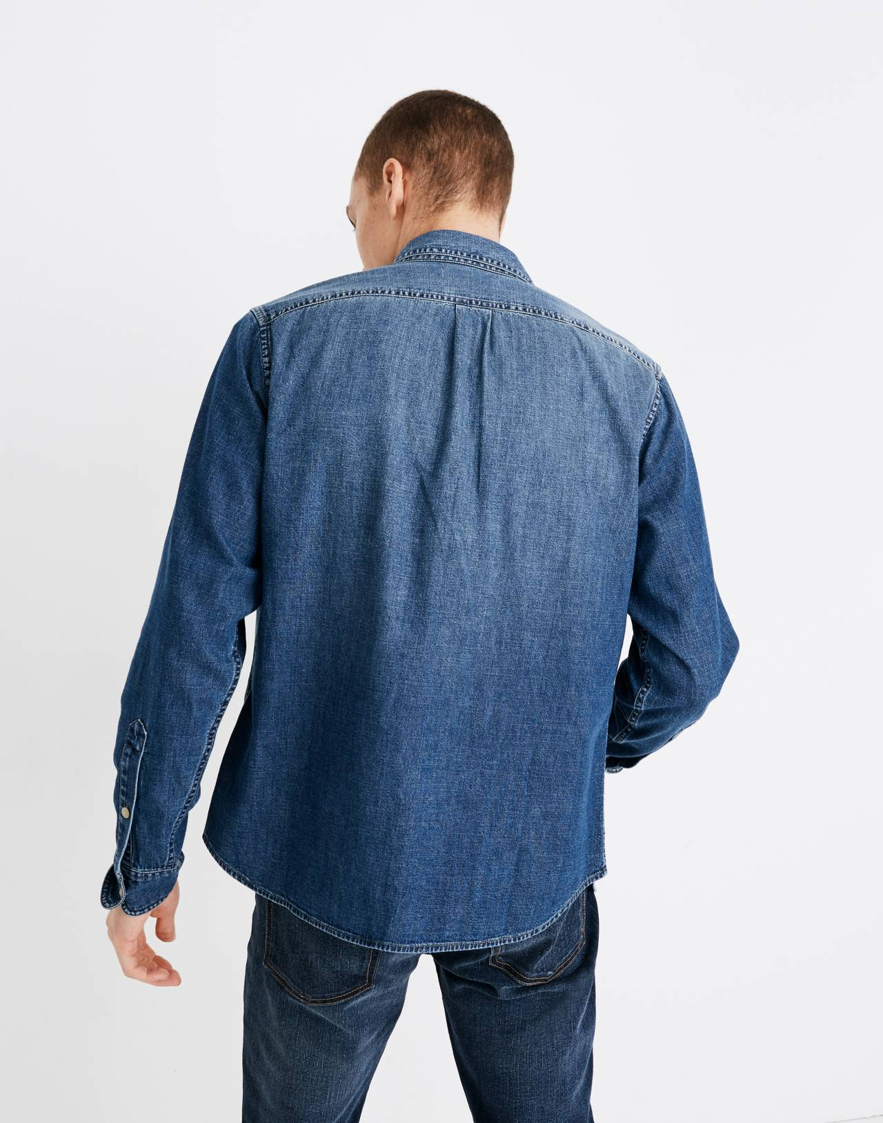 Denim Button-Down Shirt in Newhall Wash in newhall wash image 3
