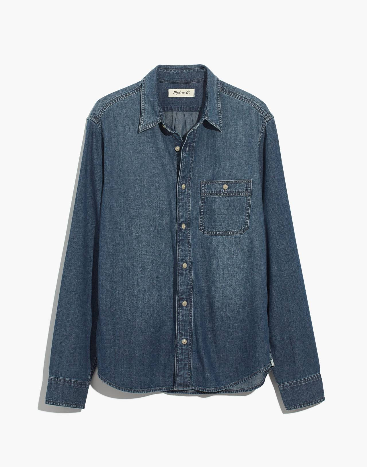 Denim Button-Down Shirt in Newhall Wash in newhall wash image 4