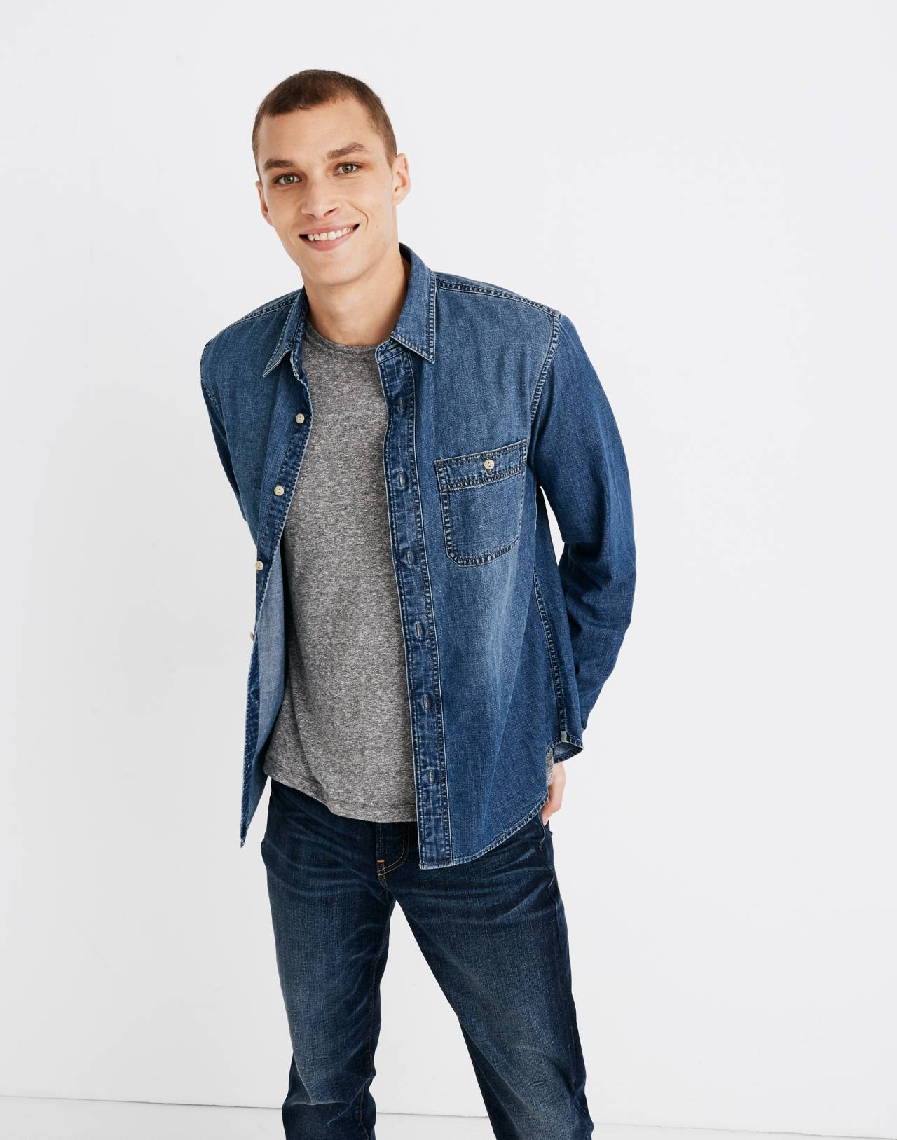 Denim Button-Down Shirt in Newhall Wash in newhall wash image 1