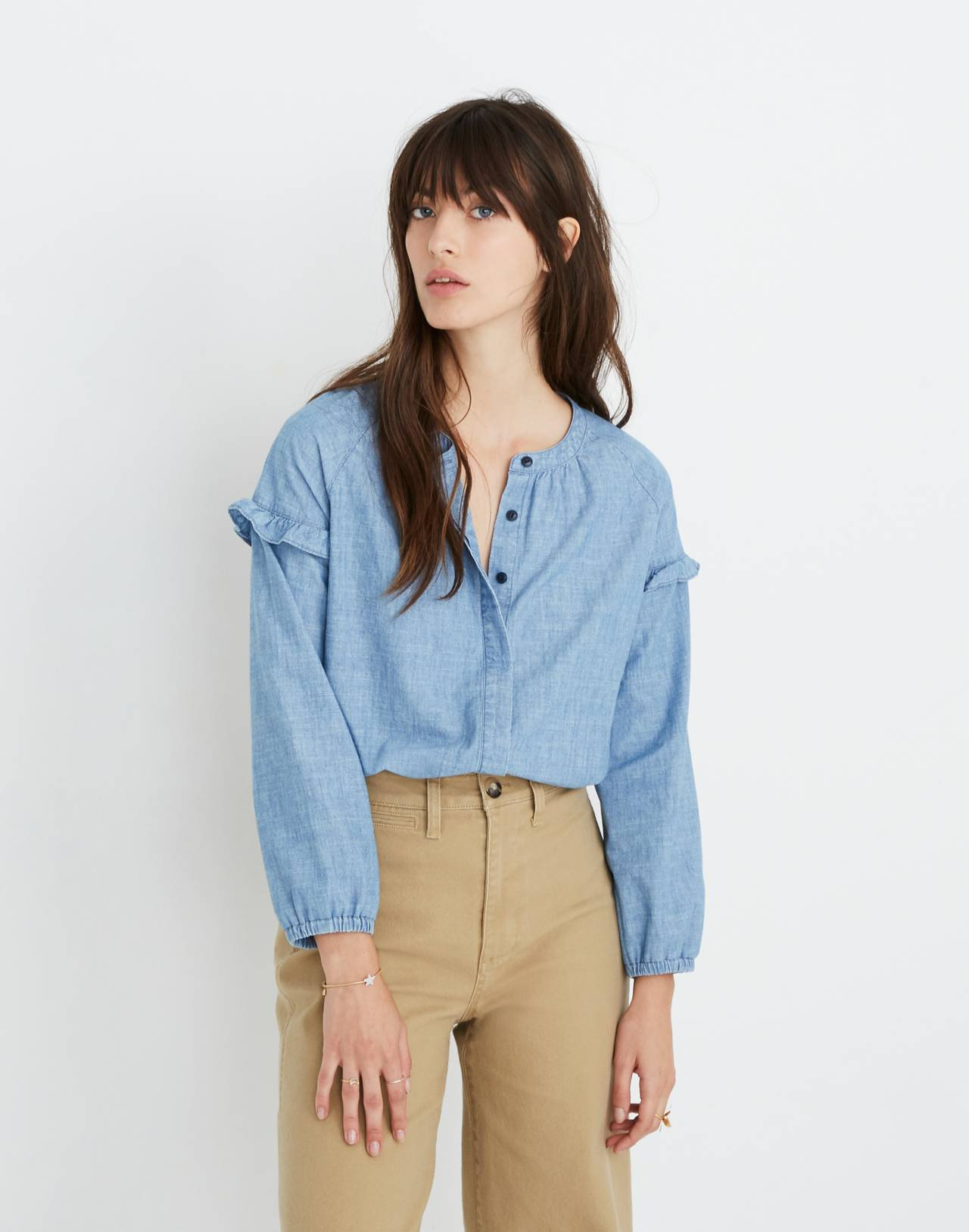 Denim Collarless Ruffle-Sleeve Shirt in verona wash image 2