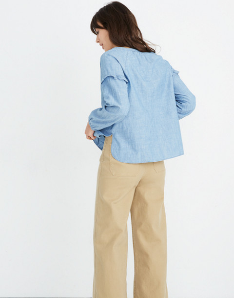Denim Collarless Ruffle-Sleeve Shirt in verona wash image 3