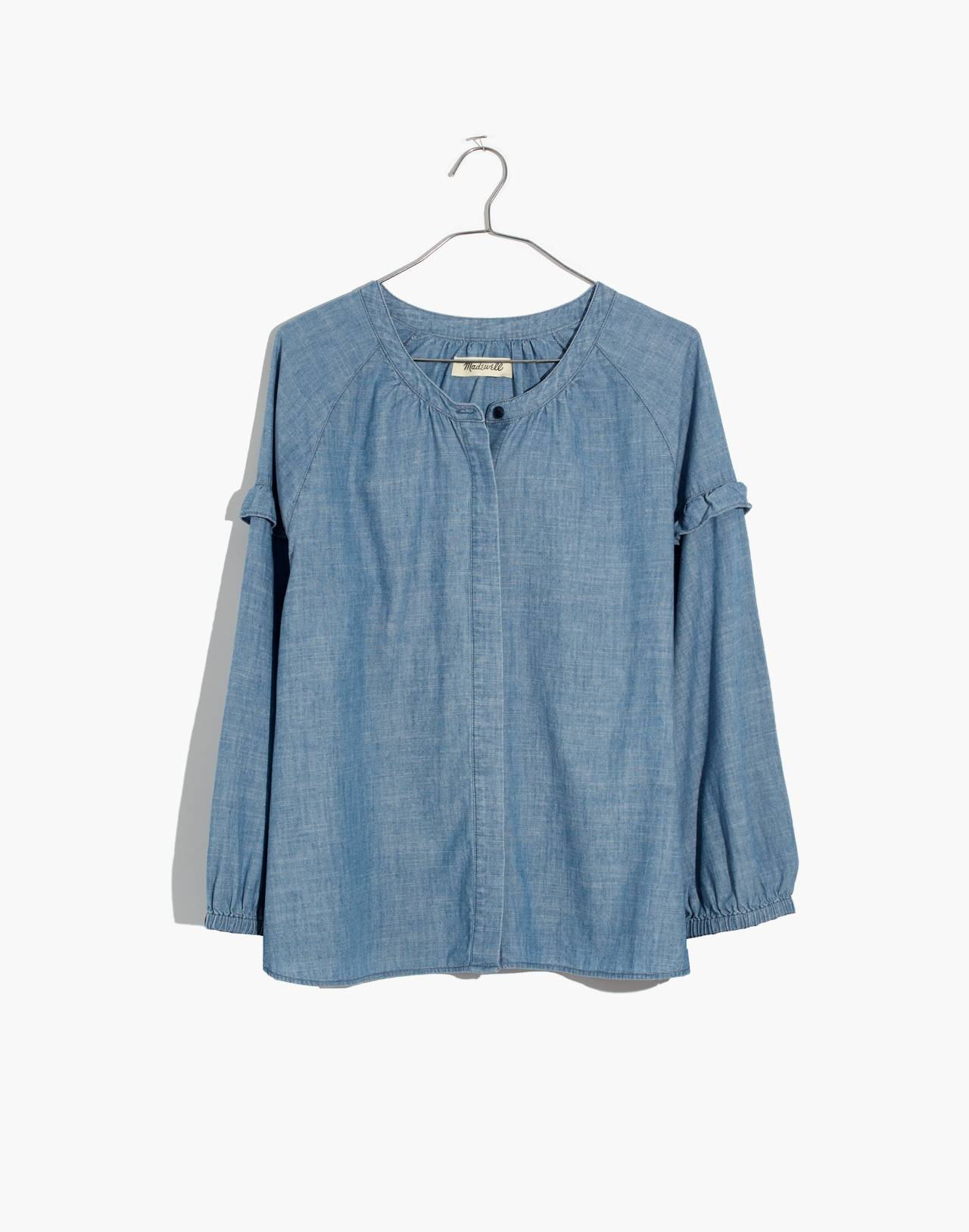 Denim Collarless Ruffle-Sleeve Shirt in verona wash image 4
