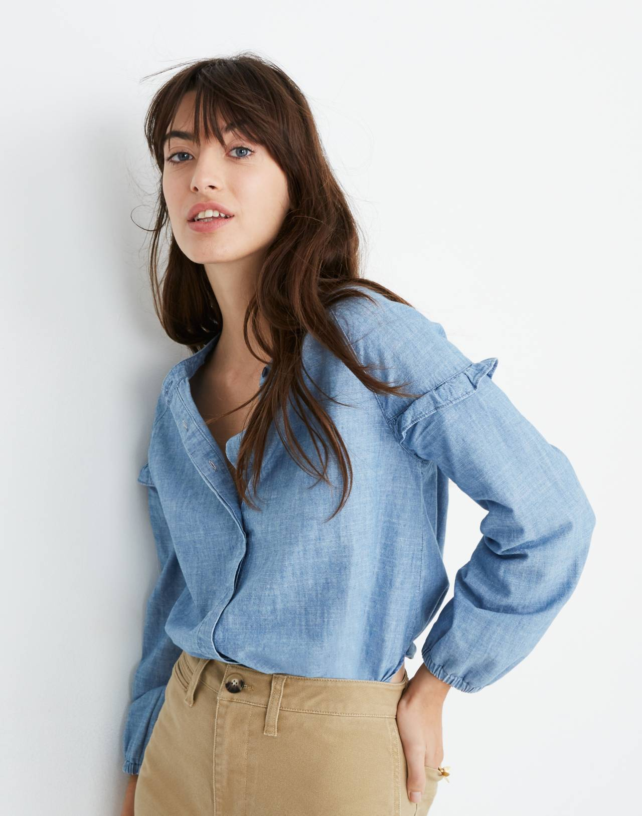 Denim Collarless Ruffle-Sleeve Shirt in verona wash image 1
