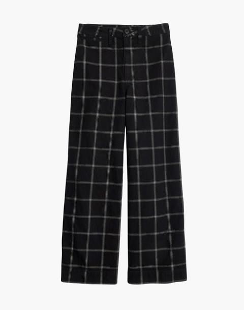 Petite Emmett Wide-Leg Crop Pants in Black Windowpane in balsam plaid black image 1