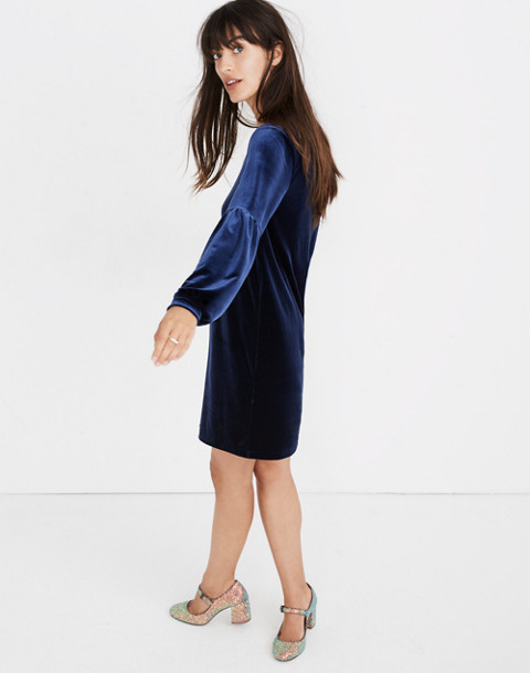 Velvet Balloon-Sleeve Dress in deep navy image 2