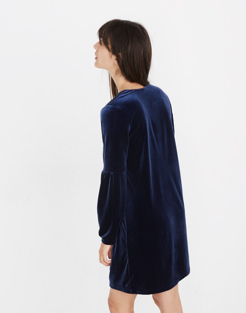 Velvet Balloon-Sleeve Dress in deep navy image 3