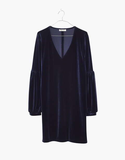 Velvet Balloon-Sleeve Dress in deep navy image 4