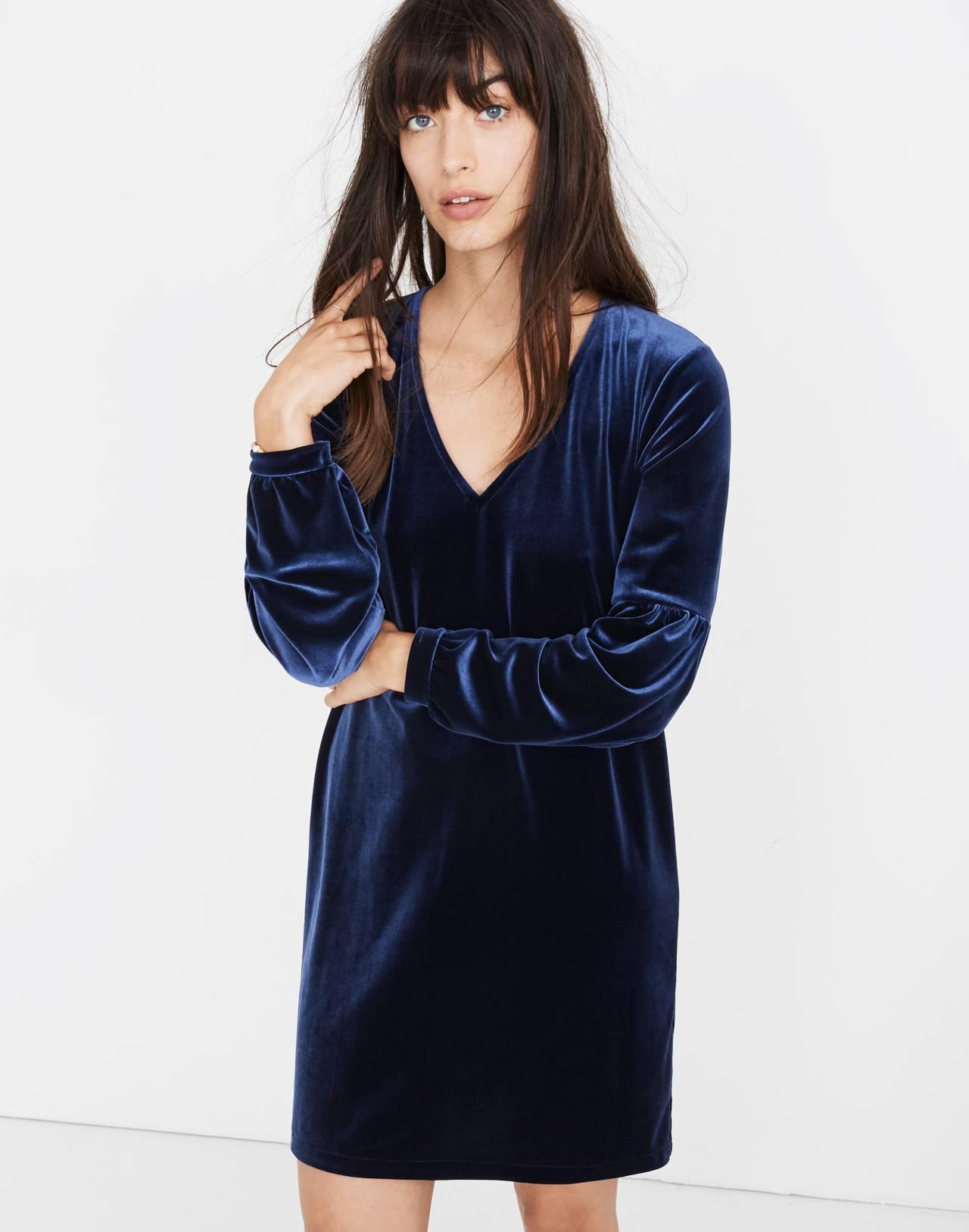 Velvet Balloon-Sleeve Dress in deep navy image 1