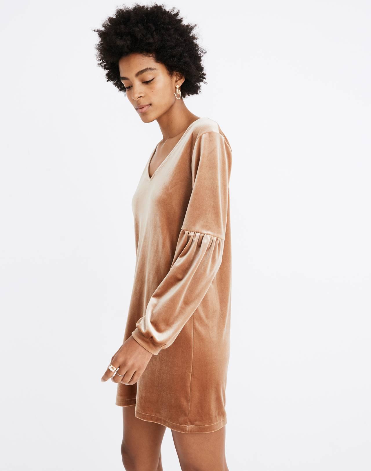 Velvet Balloon-Sleeve Dress in burnt sienna image 2
