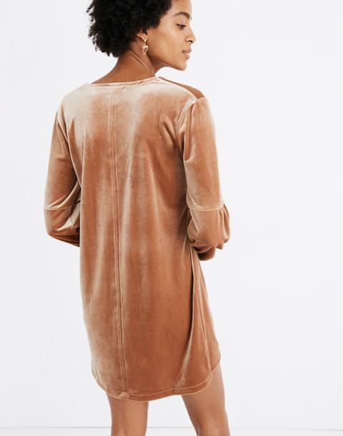 Velvet Balloon-Sleeve Dress in burnt sienna image 3