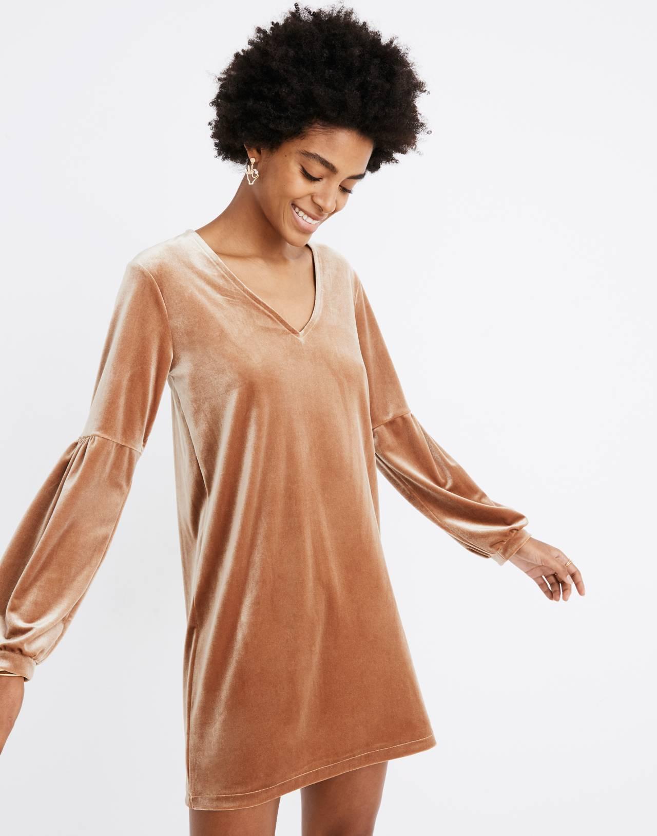 Velvet Balloon-Sleeve Dress in burnt sienna image 1