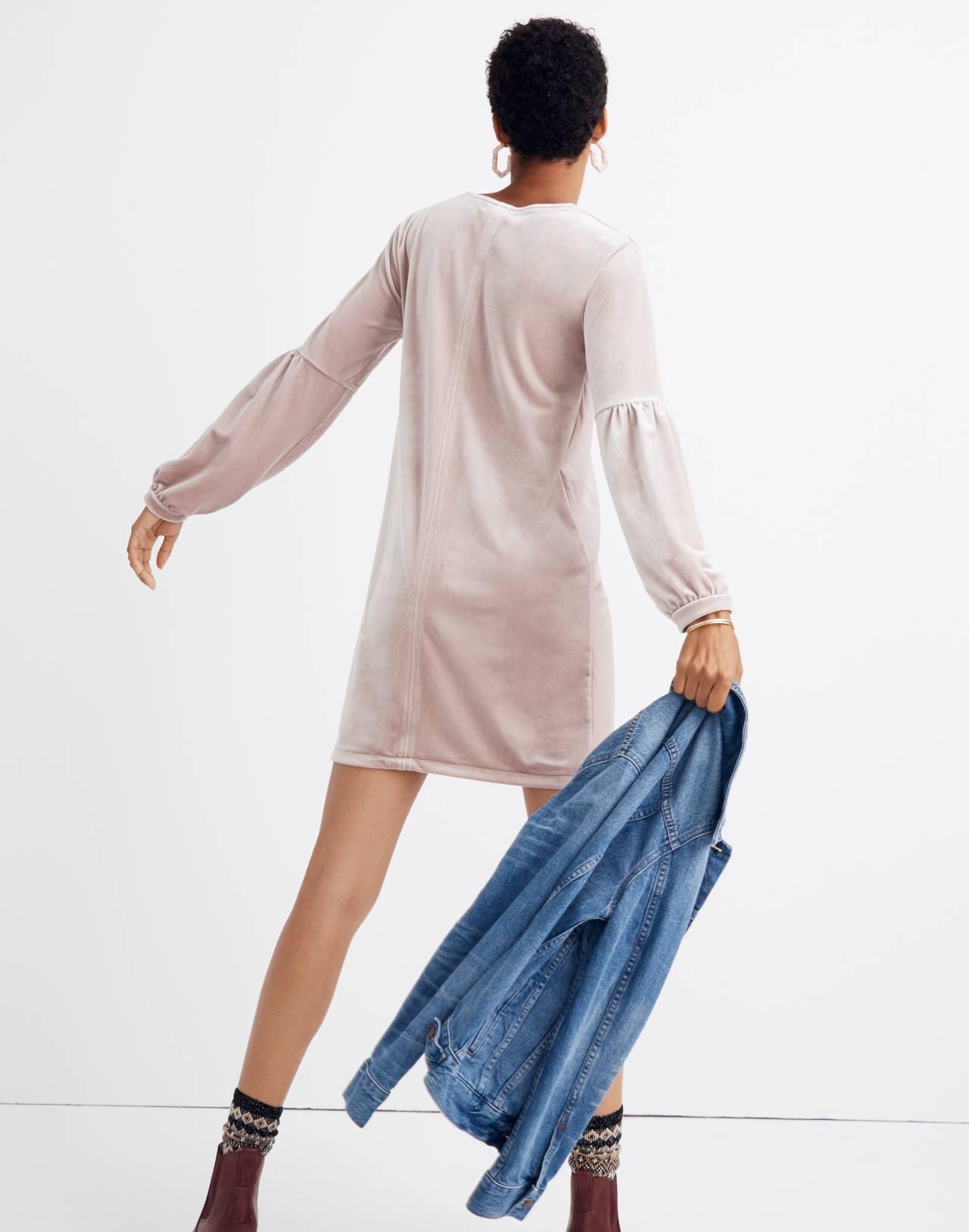 Velvet Balloon-Sleeve Dress in wisteria dove image 3