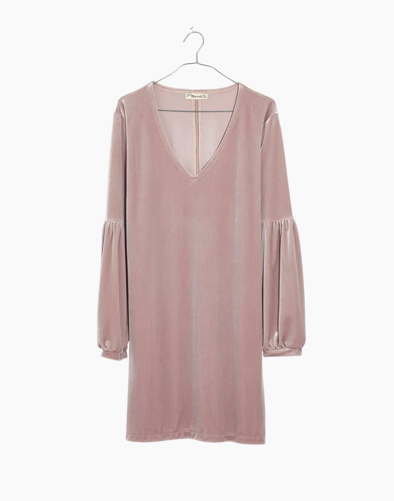 Velvet Balloon-Sleeve Dress in wisteria dove image 4