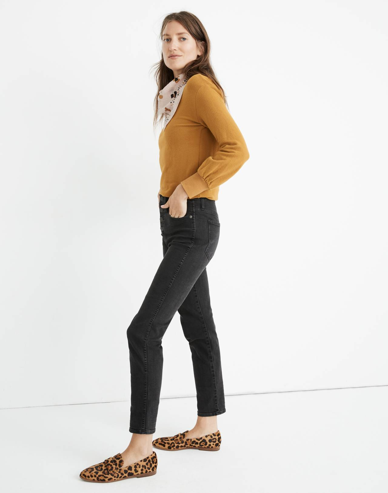 Petite Slim Straight Jeans in Lunar Wash: Button-Front Edition in lunar wash image 2