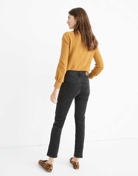 Petite Slim Straight Jeans in Lunar Wash: Button-Front Edition in lunar wash image 3