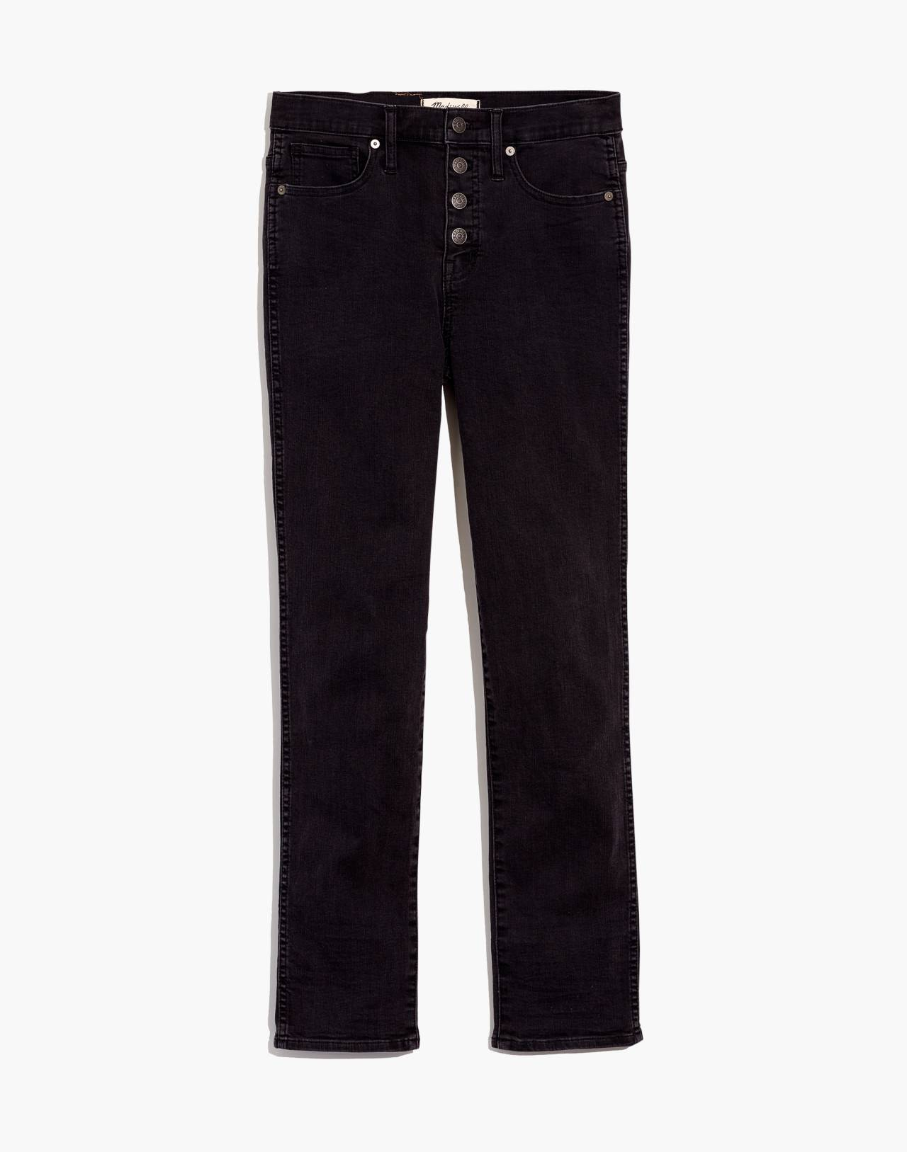 Petite Slim Straight Jeans in Lunar Wash: Button-Front Edition in lunar wash image 4