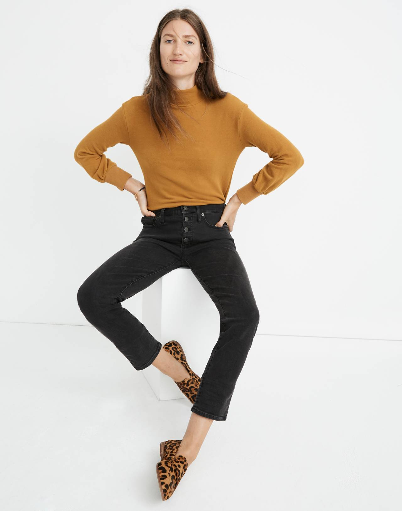 Petite Slim Straight Jeans in Lunar Wash: Button-Front Edition in lunar wash image 1