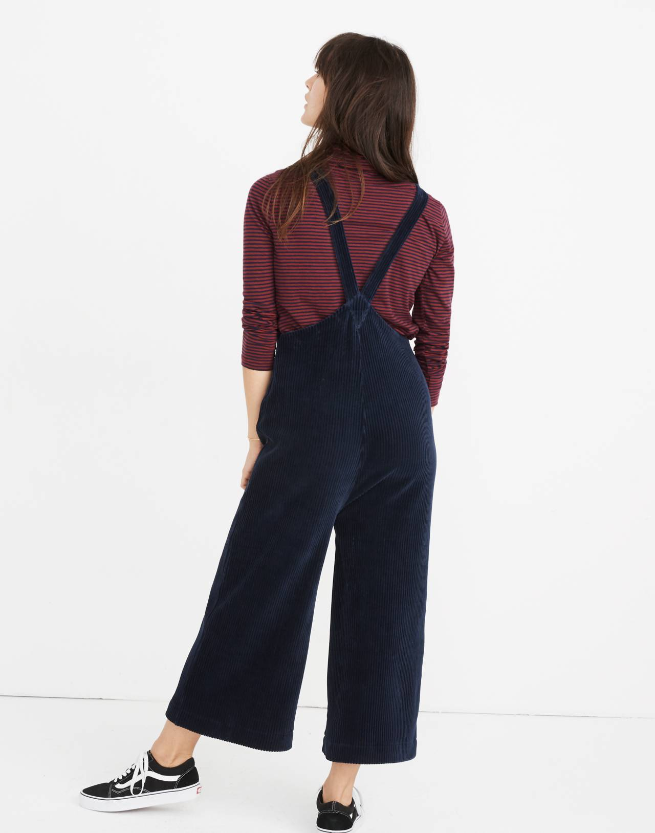 Texture & Thread Velour Corduroy Overalls in deep navy image 3