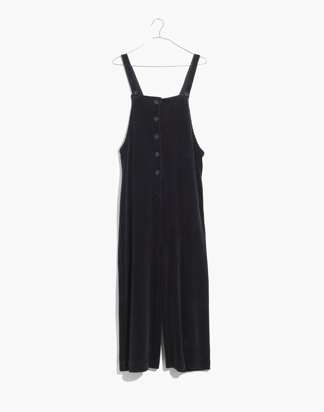 Texture & Thread Velour Corduroy Overalls in deep navy image 4