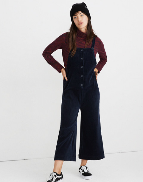 Texture & Thread Velour Corduroy Overalls in deep navy image 1
