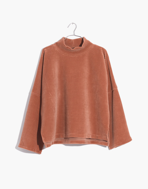 Texture & Thread Velour Corduroy Mockneck Top in warm sand image 1