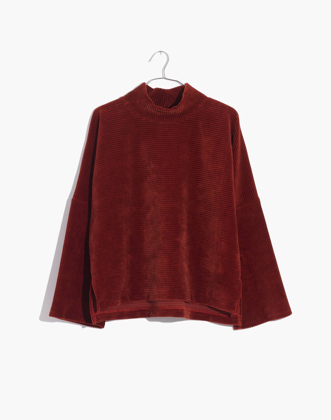 Texture & Thread Velour Corduroy Mockneck Top in canterbury red image 1
