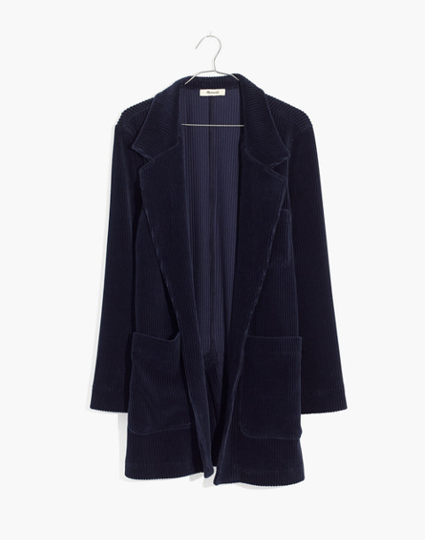 Texture & Thread Velour Corduroy Blazer in deep navy image 4