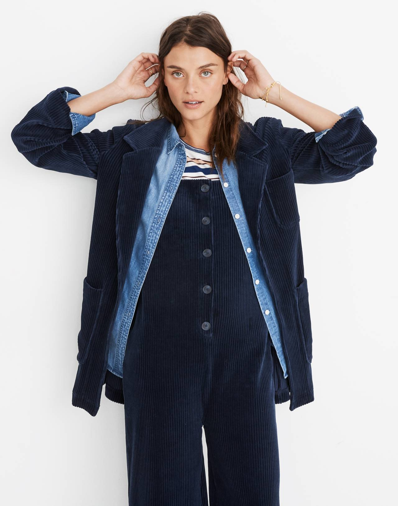 Texture & Thread Velour Corduroy Blazer in deep navy image 1