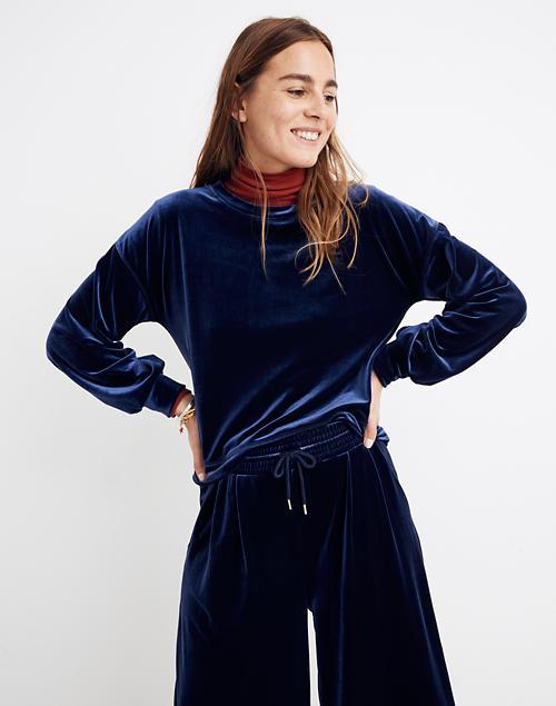Velvet Balloon Sleeve Sweatshirt