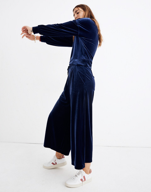 Stretch Velvet Huston Pull-On Crop Pants in deep navy image 2