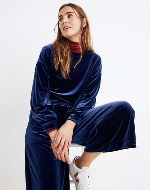 Stretch Velvet Huston Pull-On Crop Pants in deep navy image 3