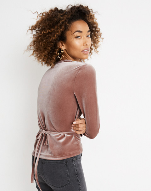 Velvet Ballet Wrap Top in warm ash image 3