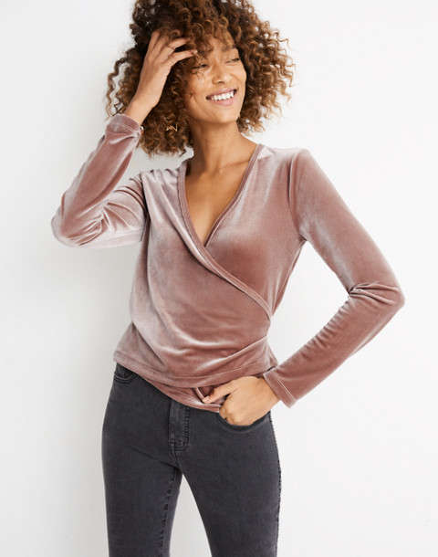 Velvet Ballet Wrap Top in warm ash image 1