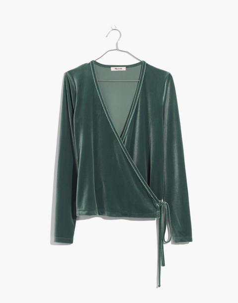 Velvet Ballet Wrap Top in architect green image 1