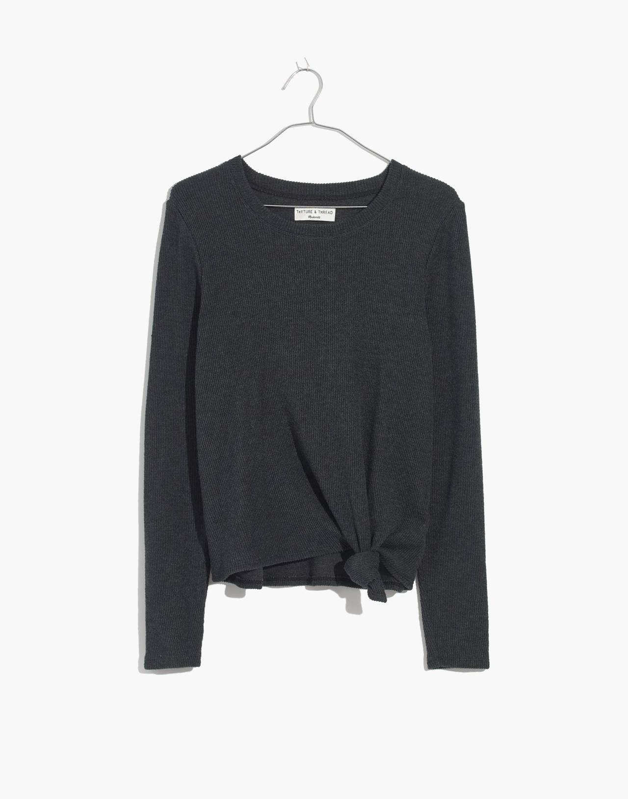 Texture & Thread Jacquard Knot-Front Top in hthr coal image 1