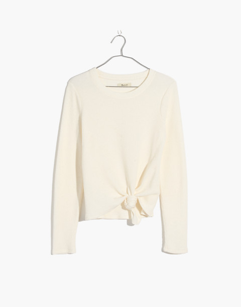Texture & Thread Jacquard Knot-Front Top in bright ivory image 1