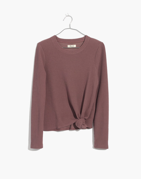Texture & Thread Jacquard Knot-Front Top in frosty mauve image 1